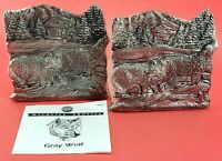 Vintage National Wildlife Federation Gray Wolf Pewter Bookends 1992