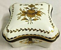 Antique Trinket Box French Amogee Jewelry Casket Hand Painted Porcelain France