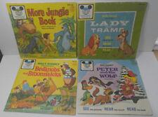 Lot 4 Vintage Disney Read Along Jungle Book Lady Tramp Peter Wolf Breadknobs