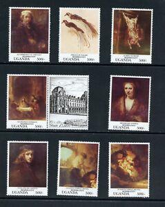 B310 L'Ouganda 1993 Art Tableaux Rembrandt 8v Étiquette MNH