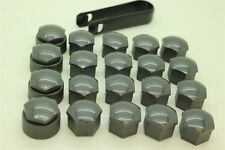 Wheel Nut Covers in Gloss Grey to fit Audi Hex with Removal Tools 17mm