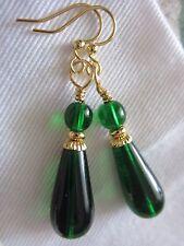 Old World Emerald Green Czech Teardrop Dangle Kirsten EARRINGS USA HandMade Gift