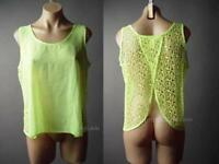 Sale Bright Neon Sheer Fishnet Net 80s Punk Cyber Goth Tank Top 94 mv Shirt S M
