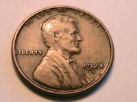 1924-S US Lincoln Wheat Cent Brown Fine Nice Original One Penny Bronze Coin