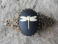 DRAGONFLY CAMEO (CREAM/BLACK) BRONZE FILIGREE BARRETTE - VICTORIAN LOOK, WEDDING