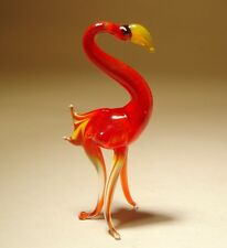 "Blown Glass ""Murano"" Animal Figurine Small Red Flamingo Bird"