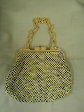 Vintage Whiting & Davis Bakelite-Ivory Beaded Metal Mesh Handbag Great condition