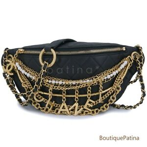 Limited Chanel 19A All About Chains Waist Bag Fanny Pack 64150