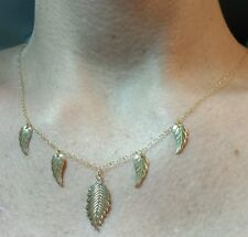 Leaf feather 22mm and 12mm pendant necklace solid stamped 14k yellow gold.