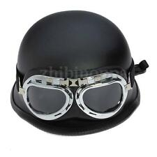 New Black WWII Style German Motorcycle Half Helmet Chopper Biker Pilot Goggles