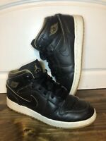 Nike Air Jordan 1 Retro Mid GS Black Gold Royalty 554725-042 Youth Size 6.5y