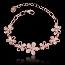 Charm Rose Gold Plated Women Jewelry Pink Cat's Eye Opal Flower Chain Bracelet