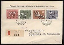 Liechtenstein 1954 raccomandata FDC per gli USA con la serie calcio (N422)