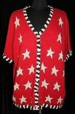 Quacker Factory Sz 1X Patriotic Cardigan Sweater American Flag Stars Plus Womens