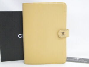 MNT CHANEL Agenda Cover Day Planner Cream Beige Leather France 43180025700 P