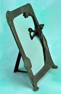 Art Deco Vintage Mirror Metal Picture Frame with Girl Figure (BI#210107)