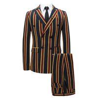 Herren Kleidung Zweireiher Jacke Bühnen Streifen Nachtclub Anzug Slim Fit NEU