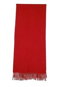 GENUINE BURBERRY BURBERRY'S  RED 100% CASHMERE SOLID PLAIN VINTAGE GOOD SCARF