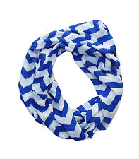 Royal Blue & White Chevron Infinity Scarf
