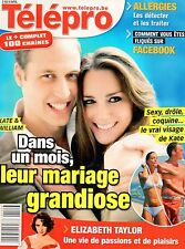 french magazine Télépro N°2978 kate middleton et william elizabeth taylor 2011