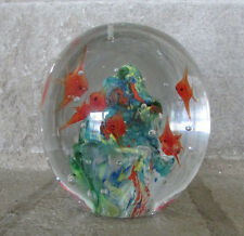 Paper Weight Dynasty Gallery Fish Bubbles Water Ocean Signed Super Awesome piece