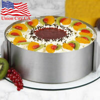 "Stainless Steel 6""-12"" Adjustable Round Mousse Cake Ring Mold DIY Baking Tool"