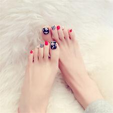 24Pcs Flower Black Red Full Cover False Thumb Toe Nails Manicure Tools