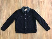 Levi's Men's Black Denim Sherpa Lined Trucker Jean Jacket Large Authentic NEW