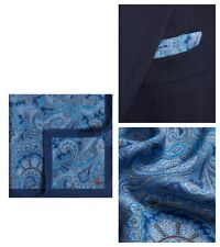 NWT AUTHENTIC ALFRED DUNHILL BLUE SILK BLEND PAISLEY POCKET SQUARE HANDKERCHIEF.