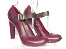 Marni Mary Jane Sz 37  US 6.5/7 Wine Magenta Rubber Heels Leather buckle