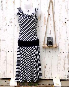 Vintage BAY Trading 90s y2k Stripe Dress Drop Waist Buckle Detail Size 12