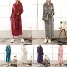 UK Womens Mens Fleece Long Dressing Gown Couple Bath Robe Soft Flannel Bathrobe