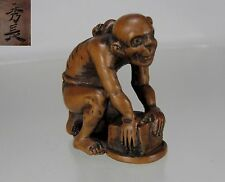HIDENAGA, Circa 1800. Japanese Boxwood Netsuke, Frustrated Rat Catcher