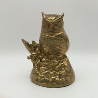 "Excellent Vintage Brass Owl on Branch 5""x 3"" Heavy Terrybear Minneapolis MCM"