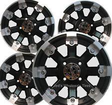 """FOUR 14"""" Aluminum ATV RIMS WHEELS LUG NUTS & CENTER CAPS Honda Pioneer 500 700"""