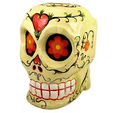 Vintage Day of The Dead Calavera Skull Hand Painted Wooden Ornament