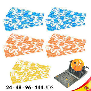CARTONES para BINGO LOTTO MANUAL MINI con números JUEGO FAMILIAR DE MESA SUERTE