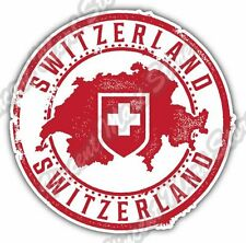 Switzerland Swiss  Country Map Grunge Stamp Bumper Vinyl Sticker Decal 4.6""