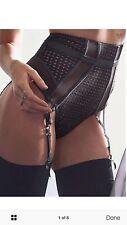 Vs new Fishnet High Waist Curve Hugging Strappy Garter Thong Panty S