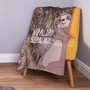 Neutral Sloth Nap All Day Sleep All Night Design Soft Fleece Throw Blanket