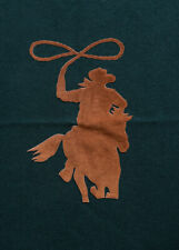 """Wool Blanket With Cowboy Image and Leather Trim by Roots Canada 66"""" x 62"""""""