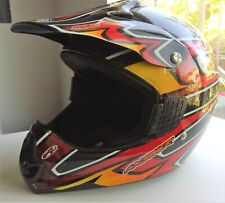 The KBC ANSWER M6 MOTORCROSS DIRTBIKE HELMET IN BLACK. RED & YELLOW, SIZE LG!