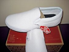 Vans Classic Slip on Mens Perf Leather White Skate Boat shoes Size 13 NWT