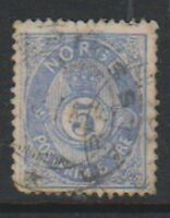 Norway - 1877/9, 5 ore Cobalt stamp - No stop after POSTFRIM - Used - SG 49a