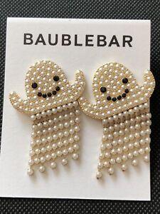 Baublebar Gold Tone Casper Crystal & Faux Pearl Ghost Fringe Earrings NWT