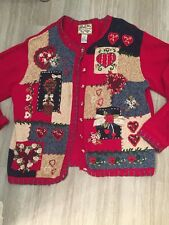 HEIRLOOM COLLECTIBLES Cardigan Sweater Hearts Patchwork Size Large