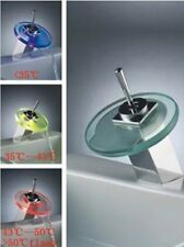 Bathroom Basin Brass Mixer LED Glass Waterfall Tap- #121
