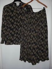Women's CHRISTIAN DIOR SEPARATES Floral Multicolor Top(12) & Skirt( 14) Set