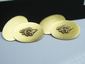 Antique Fraternal SHRINER Solid 14K Yellow Gold Cufflinks Ruby Cabochon & Enamel