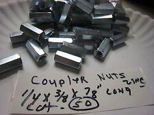 "50 pcs 1/4"" x 3/8"" x 7/8""  THREADED ROD COUPLER NUTS STANDOFFS 1/4 -20 Threads"